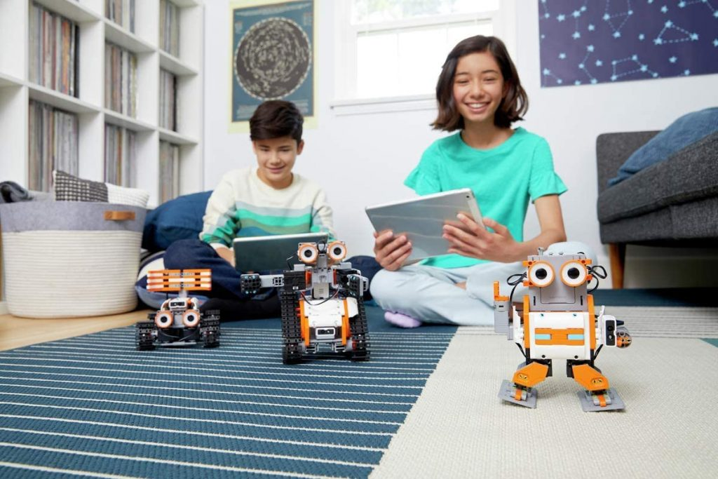 Kids having fun with robots